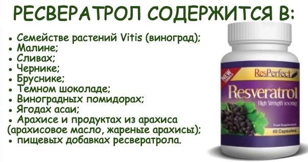 Ресвератрол продукты в которых он содержится