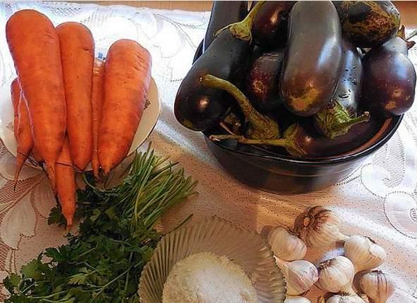 Ингредиенты для приготовления квашеных баклажанов