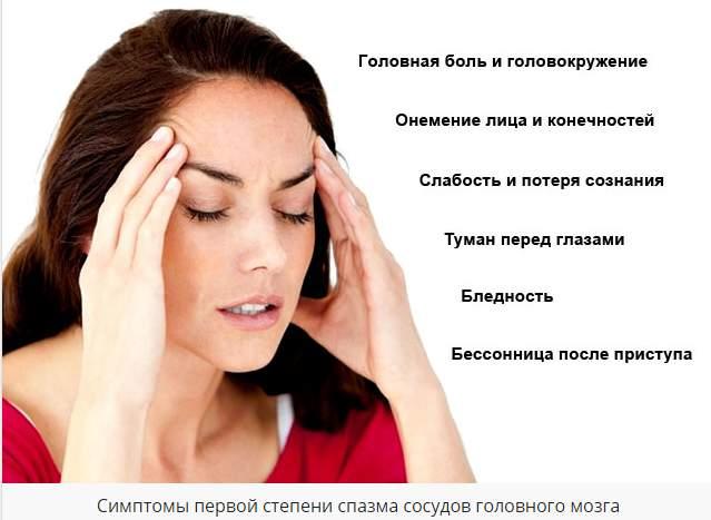 Симптомы спазма сосудов головного мозга симптомы